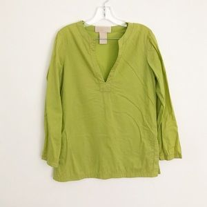 Michael MK v neck 3/4 sleeves tunic shirt green S